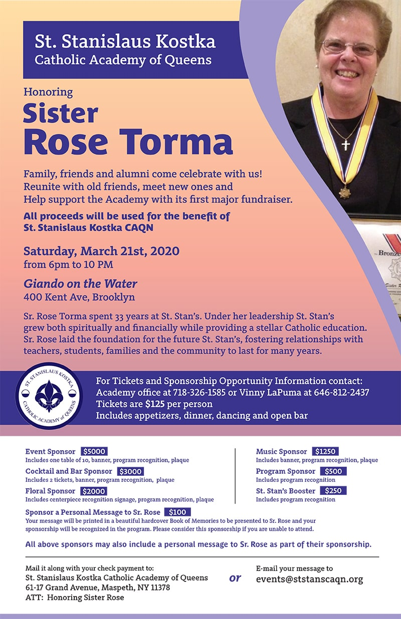 post for celebration of Sister Rose Torma